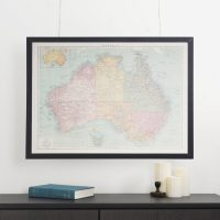 Photo of Map of Australia Framed and Hanging on Wall